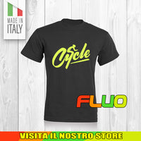 T SHIRT MAGLIA FLUO BIKE DOWNHILL BIKER 2 CYCLE MTB BICI IDEA REGALO UOMO DONNA