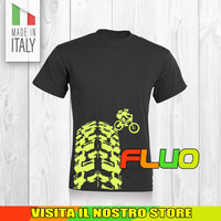 T SHIRT MAGLIA FLUO BIKE DOWNHILL BIKER 7 CYCLE MTB BICI IDEA REGALO UOMO DONNA