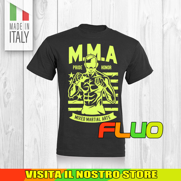 T SHIRT MAGLIA MMA FIGHTER GUERRIERO SPORT TRAIN GYM NO PAIN FLUO UOMO DONNA