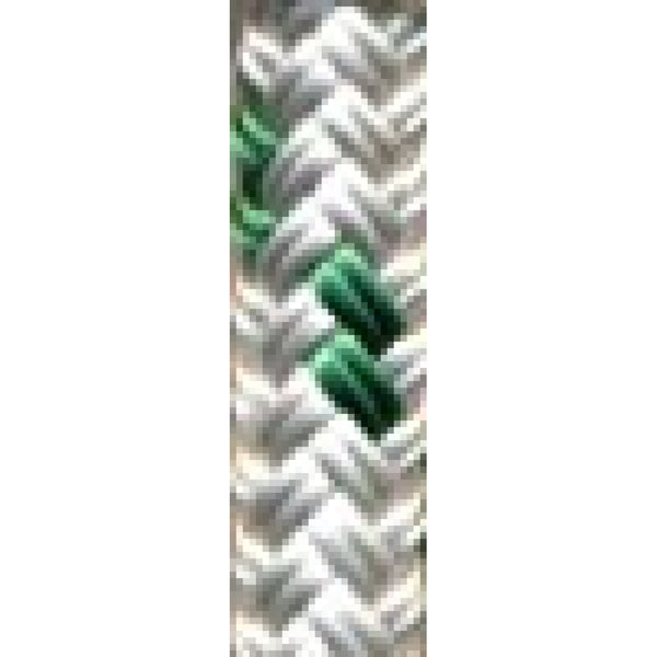 "1/2"" White with Green Tracer Yacht Braid (sold per"