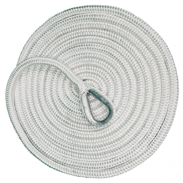 "5/8"" x 20' White Hard Eye Braided Mooring Line"