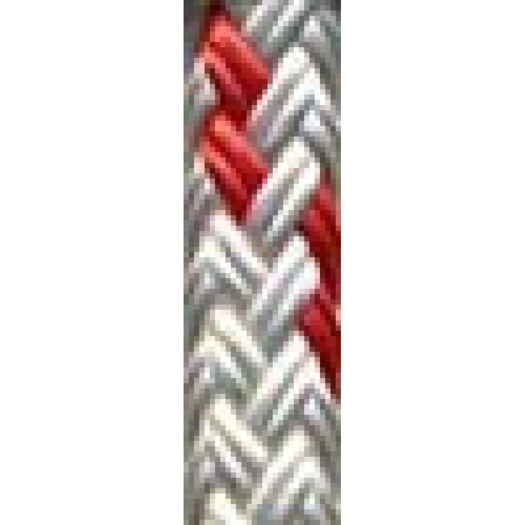 "3/8"" White w/Red Trace Yacht Braid (per foot)"