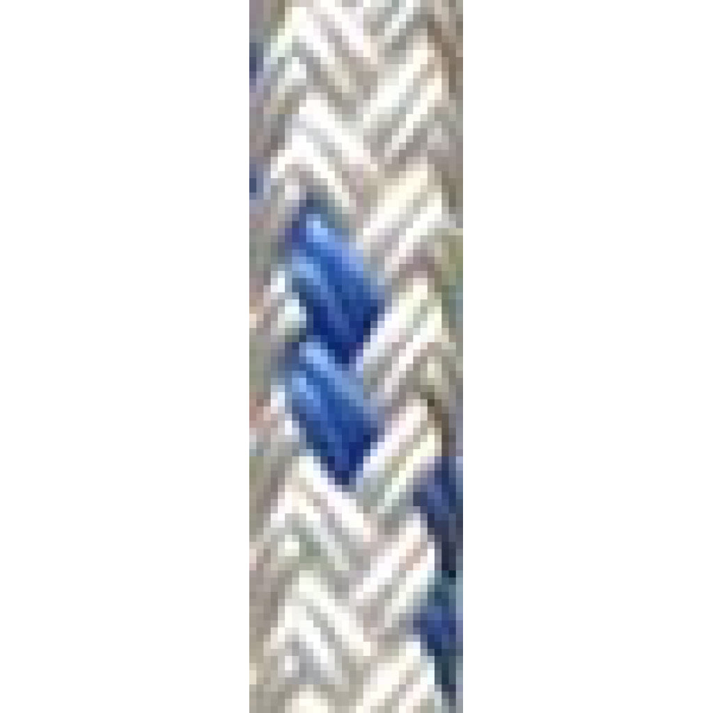 "3/8"" White w/Blue Trace Yacht Braid (per foot)"