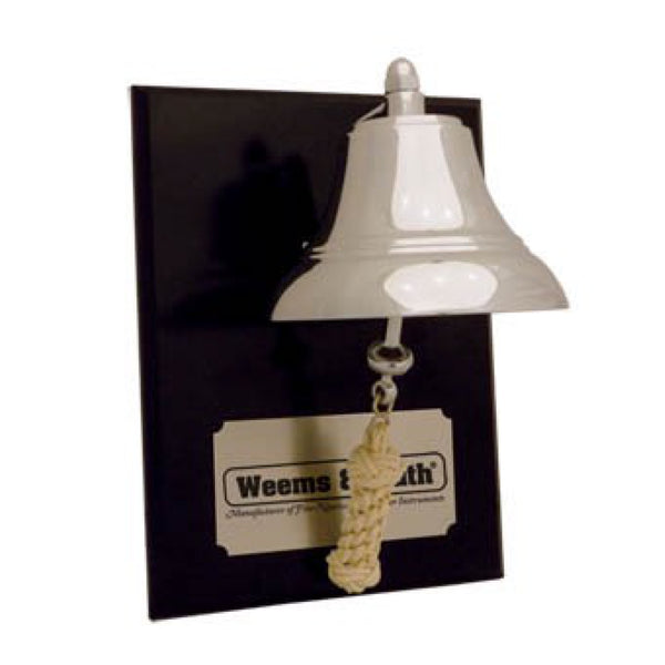 Weems & Plath Brass Bell On Mahogany Plaque