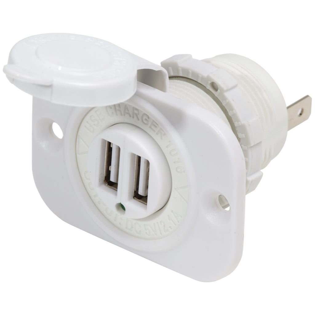 Blue Sea System White Dual USB Charger Socket