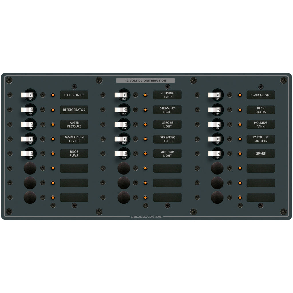Blue Sea 8264 Traditional Metal DC Panel - 24 Pos.