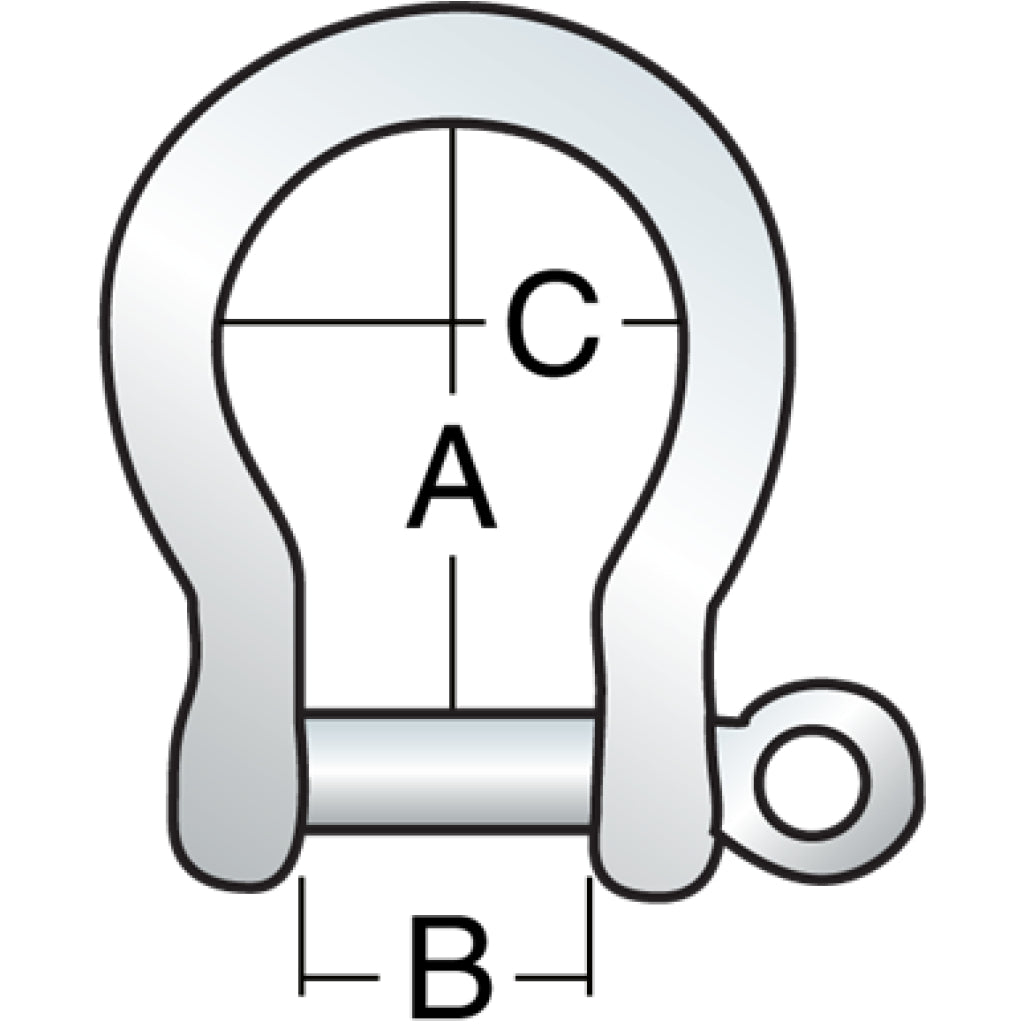Diagram of 5 mm Shallow Bow Shackle