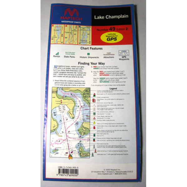Maptech Lake Champlain Waterproof Chart