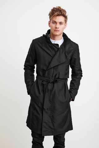 ZIPPER TRENCH COAT - black raincoat for men