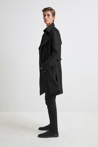 Black Canvas Trench Coat - for men