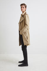 Sand Canvas Trench Coat - for men