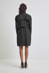 Black Canvas Trench Coat - for women