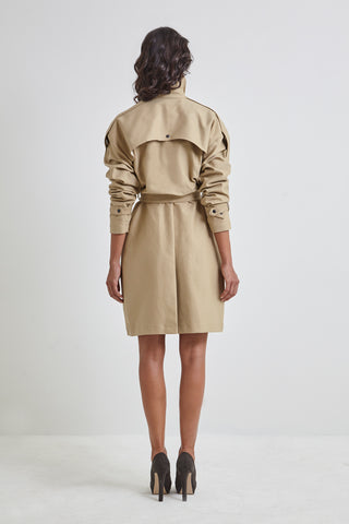 Sand Canvas Trench Coat - for women