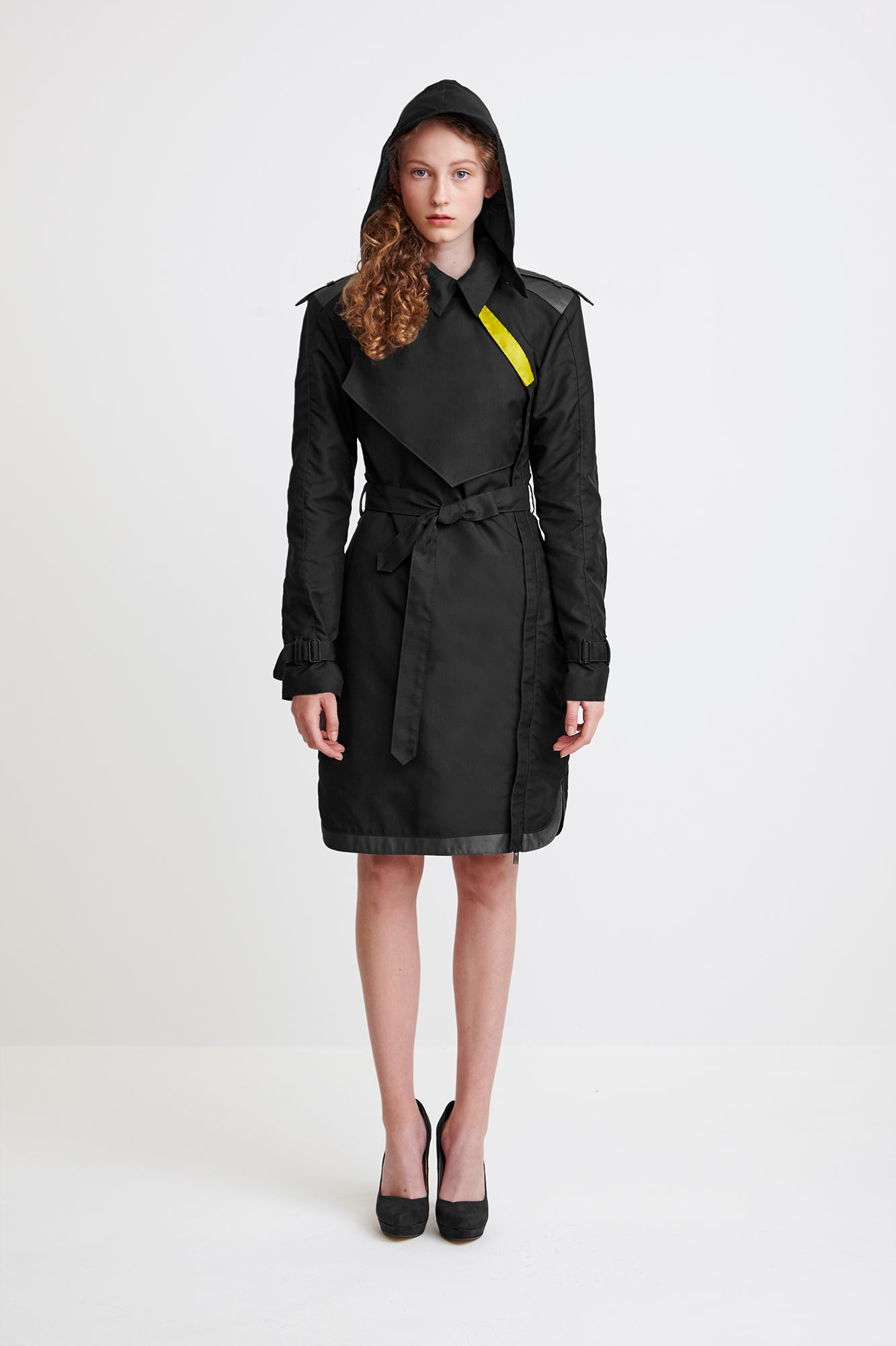 ONE-SIDED TRENCH COAT - in black for women