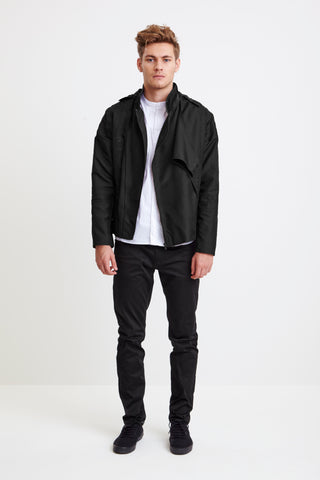 BIKER JACKET - black raincoat for men