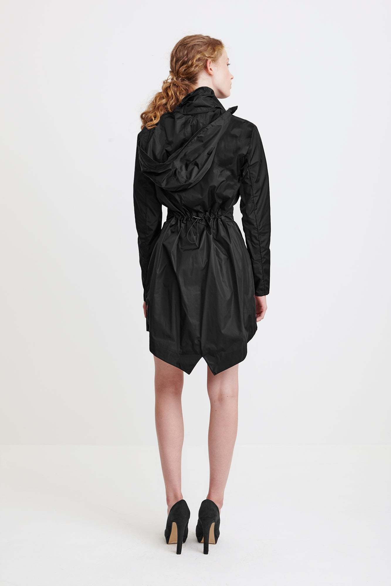 TAILORED TRENCH COAT - black raincoat for women