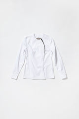 WHITE COLLARLESS ONE-SIDED SHIRT with black decor line for women