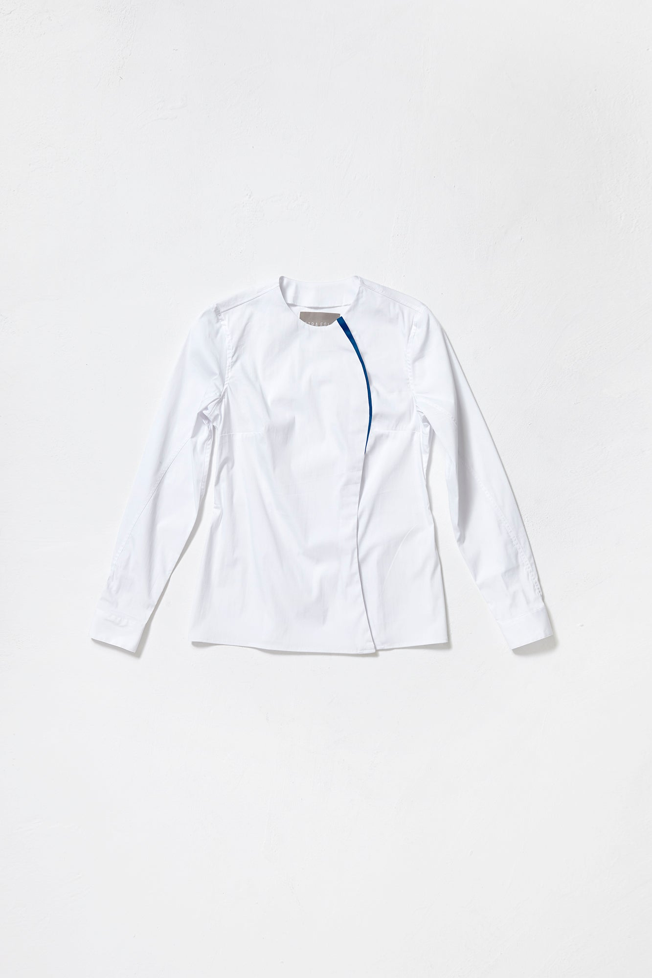 WHITE COLLARLESS ONE-SIDED SHIRT with blue decor line for women