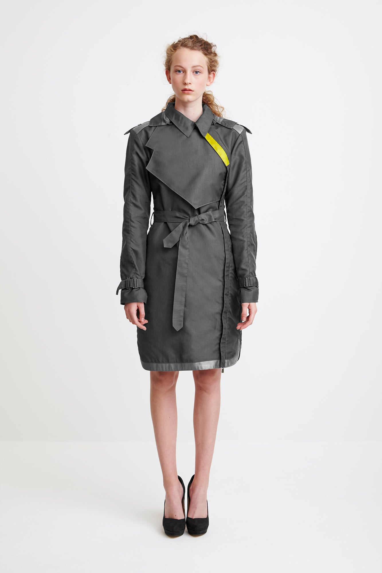 ONE-SIDED TRENCH COAT - grey raincoat for women
