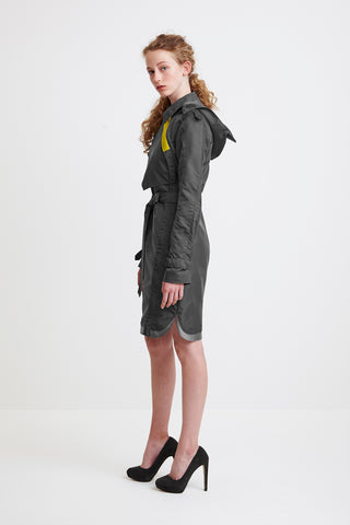 ONE-SIDED TRENCH COAT - in grey for women