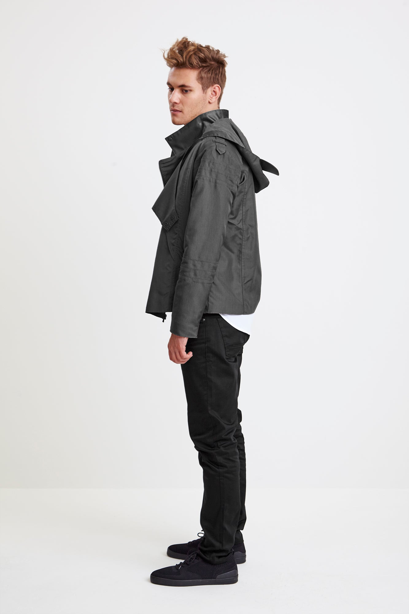 BIKER JACKET - grey raincoat for men