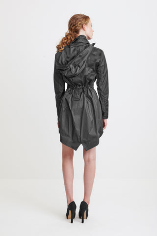 TAILORED TRENCH COAT - grey raincoat for women