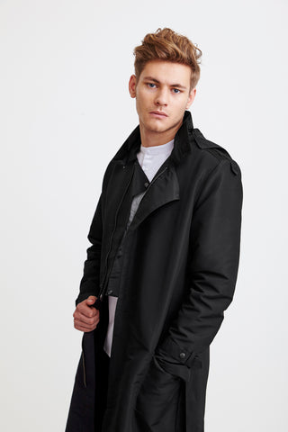 LONG ZIPPER COAT - black raincoat for men