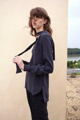 BLACK SILK SHIRT WITH SCARF for women
