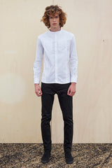 COLLARLESS WHITE HIDDEN ZIPPER SHIRT for men