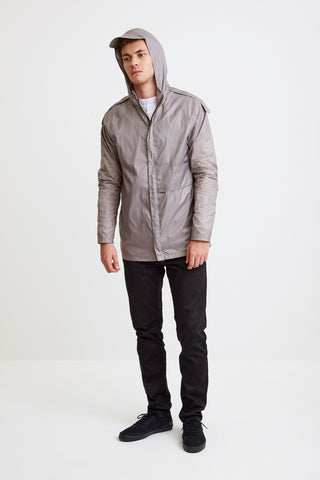 ASYMMETRICAL WINDBREAKER - in grey for men