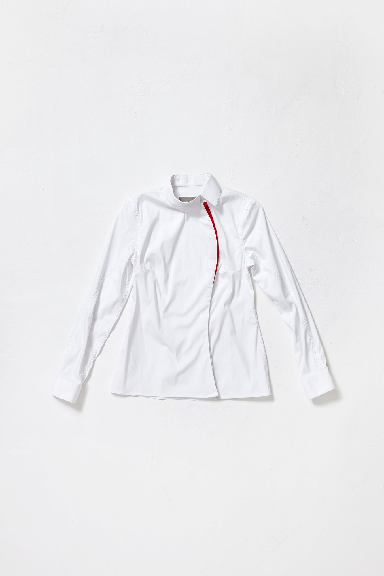 WHITE ONE-SIDED SHIRT with red decor line for women