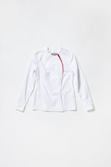 WHITE COLLARLESS ONE-SIDED SHIRT with red decor line for women