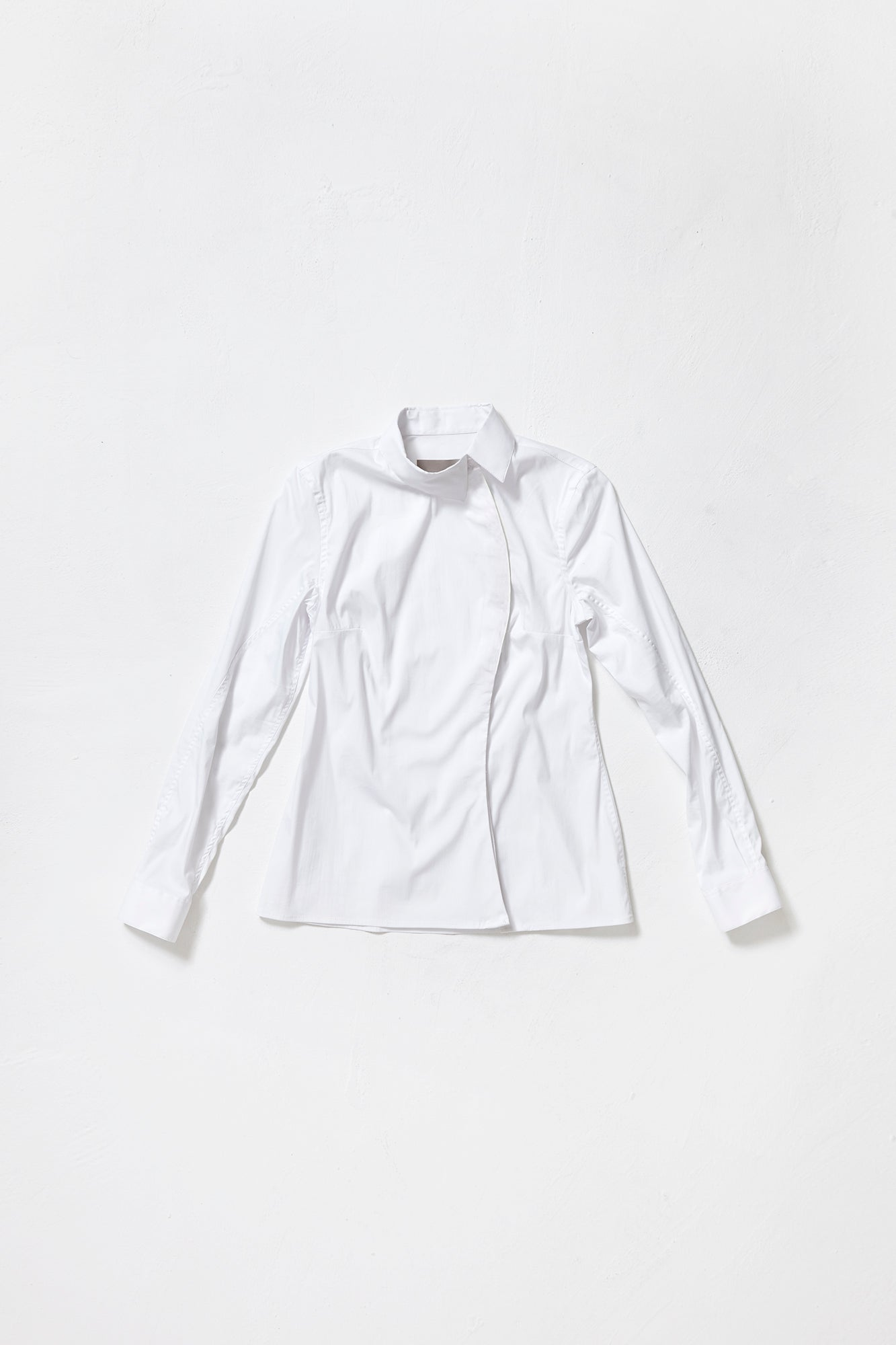 WHITE ONE-SIDED SHIRT without decor line for women