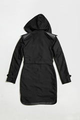 ONE-SIDED TRENCH COAT - black raincoat for women