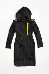 BIKER COAT - black raincoat for women