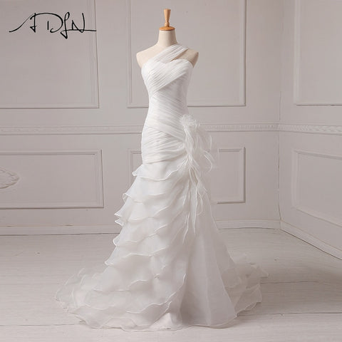 Ruffled Organza One-shoulder Mermaid Style Bridal Gown