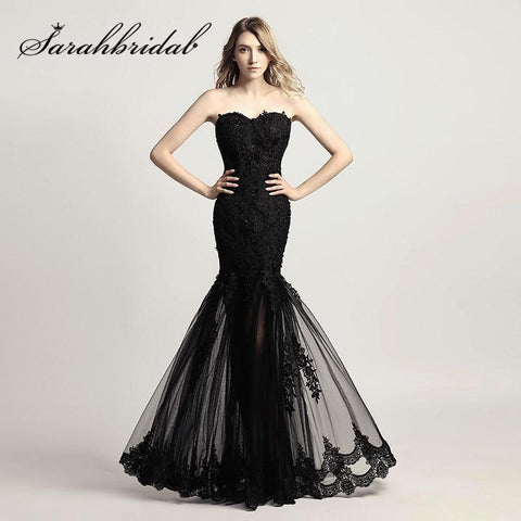 Mermaid Style Sweetheart Lace Applique Sheer Bottom Gown