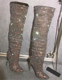 Luxury Pointed Toe Bling Over the Knee Crystal Rhinestone Boots