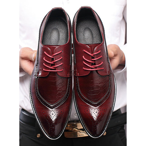 Men's Genuine Leather Pointed toe Dress shoe