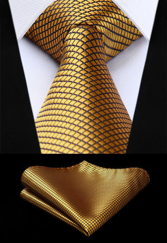 Men's Gold  100% Silk Woven Necktie & Handkerchief Set