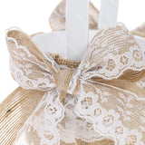 7 * 7 inches Vintage Burlap & Lace  Ring Bearer Pillow and  Flower Girl Basket Set