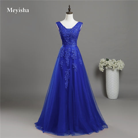 V Neck Lace Beaded  Bridesmaid  Formal Party Gown