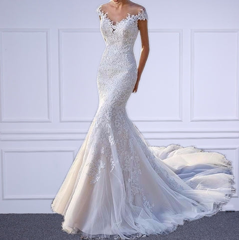 Elegant  Mermaid Style Bridal Gown With Appliques