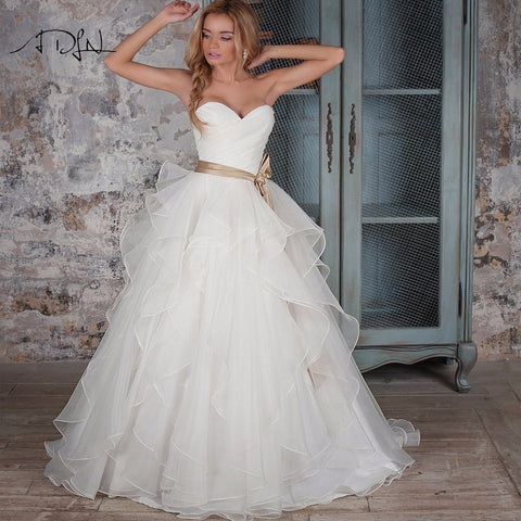 Ruffled Organza  Bridal Gown with Bow Sash White/Ivory