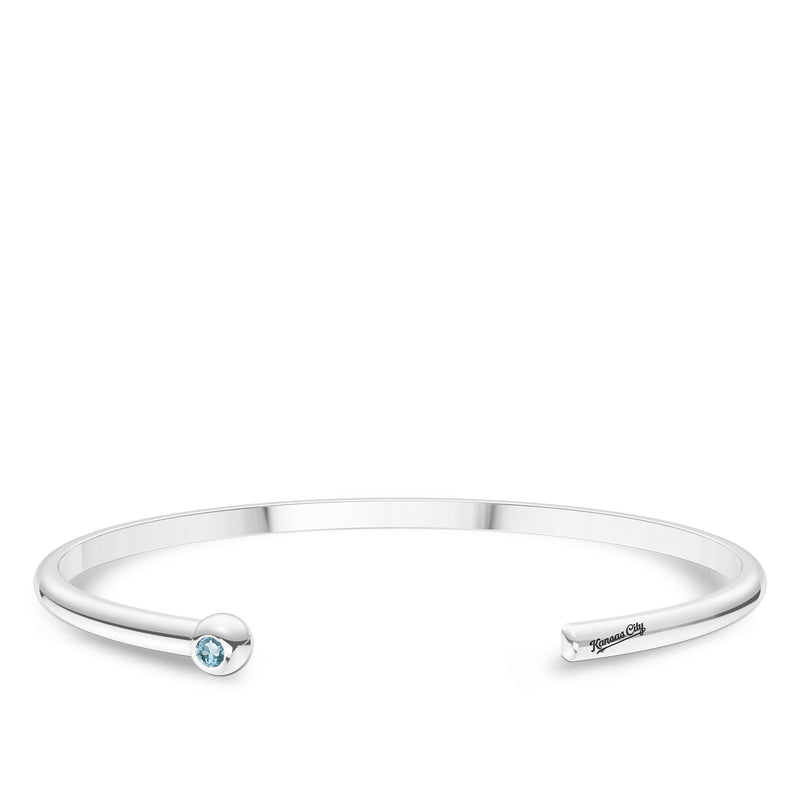 Kansas City Royals Swiss Blue Topaz Engraved Cuff Bracelet In Sterling Silver