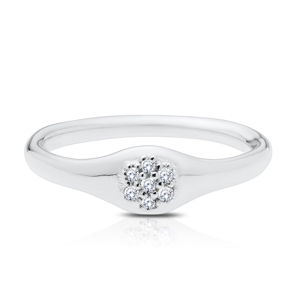 Perrywinkle's Easton Diamond Cluster Ring In Sterling Silver
