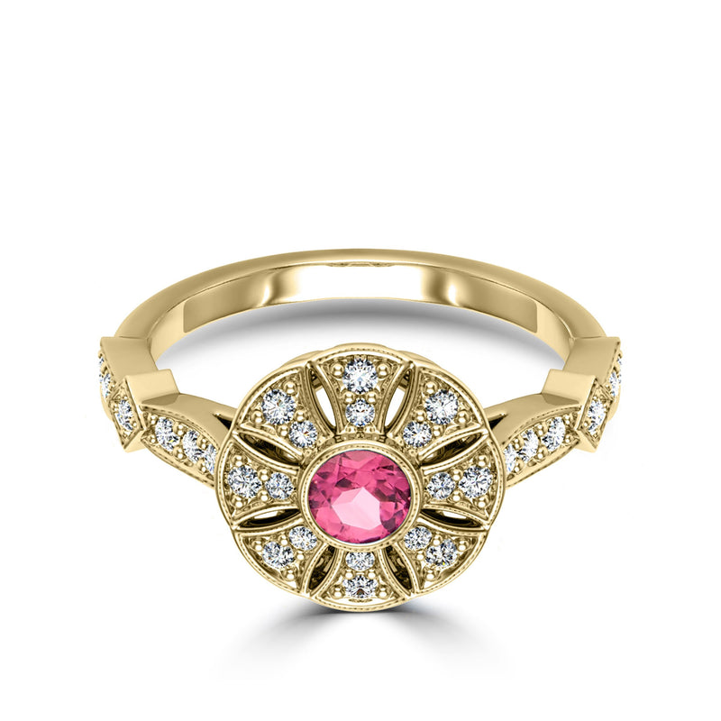 Perrywinkle's Rosette Pink Tourmaline and Diamond Flower Milgrain Ring In 14K Yellow Gold