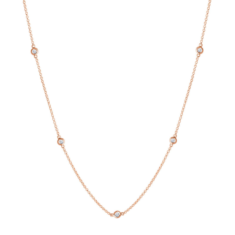 Perrywinkle's Dew Drop Diamond Bezel Necklace In 14K Rose Gold