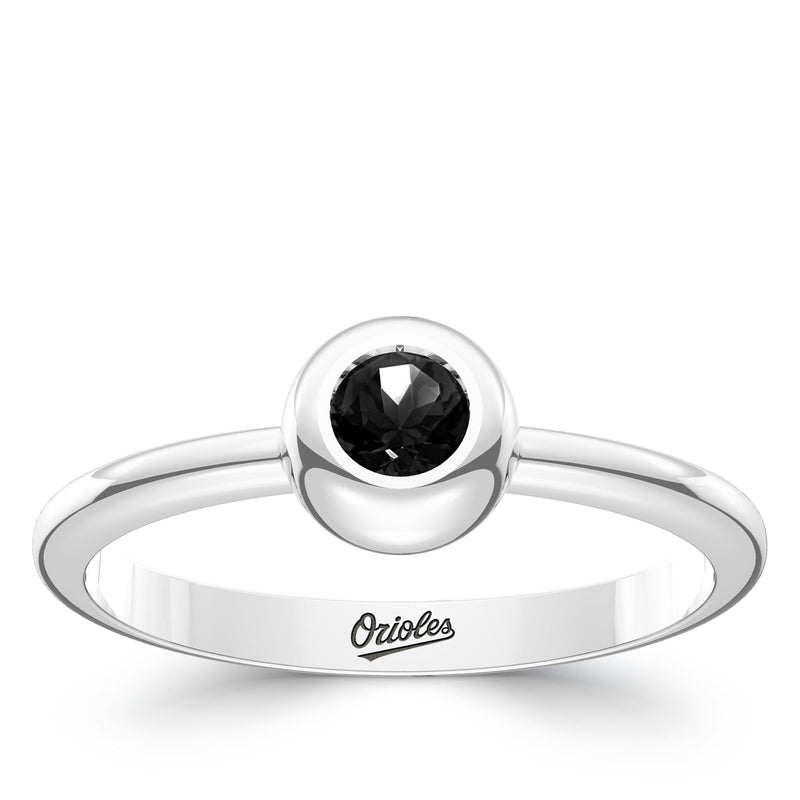 Baltimore Orioles Onyx Engraved Ring In Sterling Silver