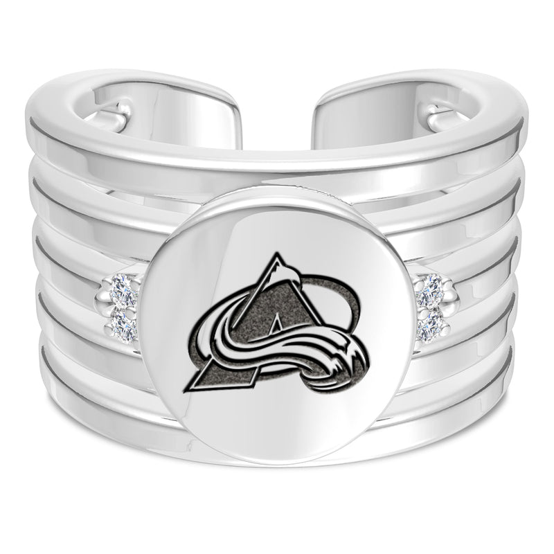 Colorado Avalanche Diamond Logo Engraved Multiband Ring In Sterling Silver